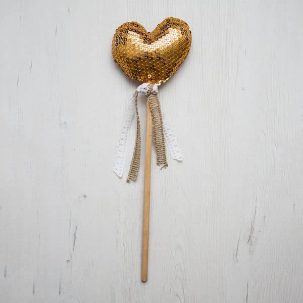 varita corazón dorado